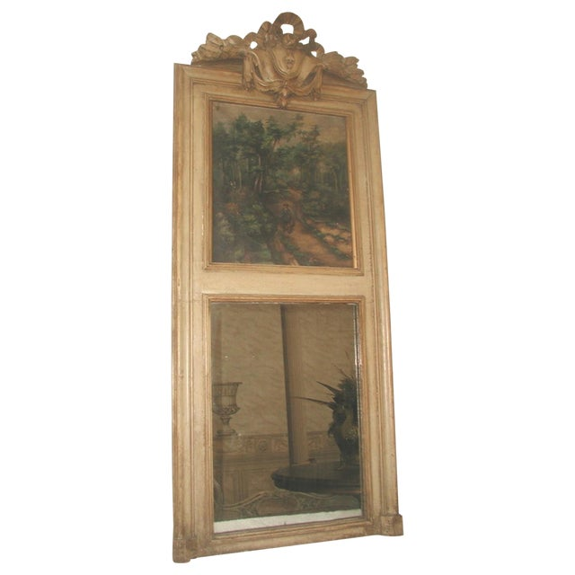 French Trumeau Mirror Canvas Oil Painting, 19th C. - Image 1 of 8