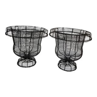 1980s Black Classical Style Wireware Urns - a Pair For Sale