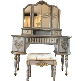 Hollywood Glamour Vintage Vanity & Chair Set