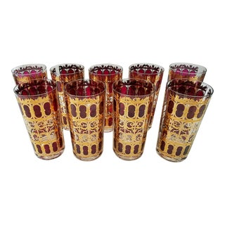 Vintage Culver Scroll Mid-Century Cocktail Glasses - Set of 8