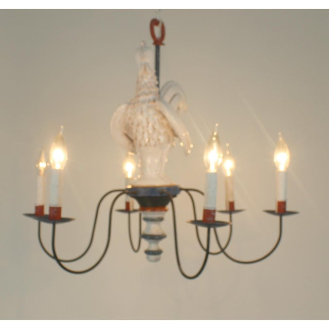 "Country Country French ""Rooster"" Chandelier For Sale - Image 3 of 11"