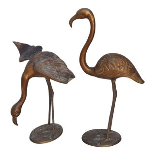 Midcentuy 1950s Large Brass Flamingo Statues - Set of Two For Sale