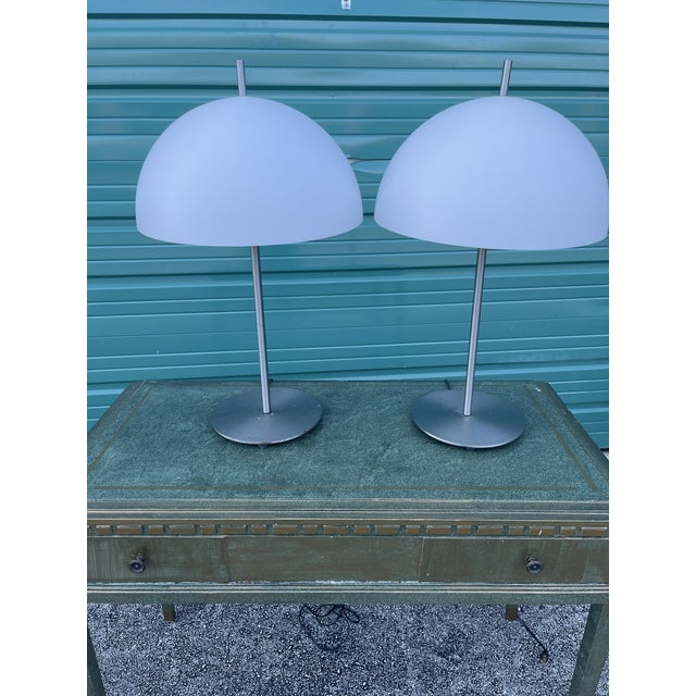 Silver Kovacs Brushed Steel Desk Lamps - a Pair For Sale - Image 8 of 9