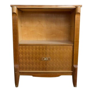 1940s French Art Deco Style Blonde Mahogany Cabinet For Sale
