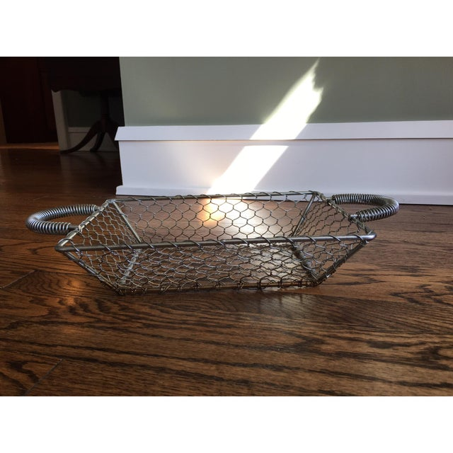 French Country Industrial Wire Tray Basket - Image 4 of 5