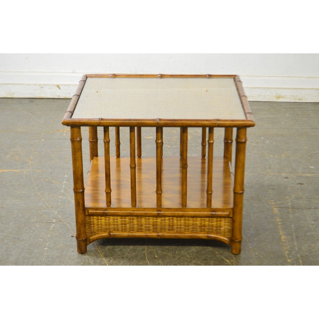 Faux Bamboo Faux Bamboo & Wicker Side Table by American of Martinsville For Sale - Image 7 of 13