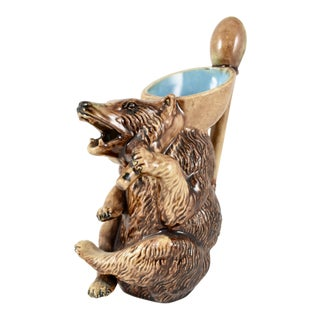 Late 19th C. Small American Majolica Honey Bear Pitcher / Creamer For Sale
