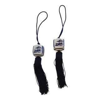 Asian Modern Blue and White Ceramic Tassels - a Pair