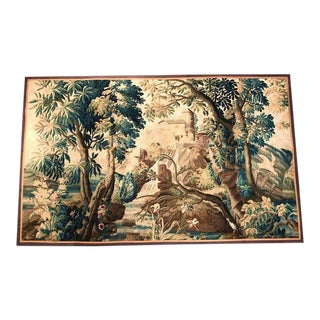 Large 18th Century French Verdure Aubusson Tapestry With Bird, Stream and Castle