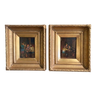 19th Century Flemish Oil on Copper Paintings in Gilt Frame After Teniers - a Pair For Sale