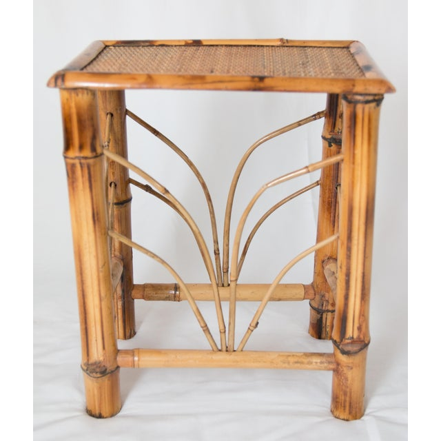 Bamboo Vintage Chinoiserie Bamboo Side Table For Sale - Image 7 of 7