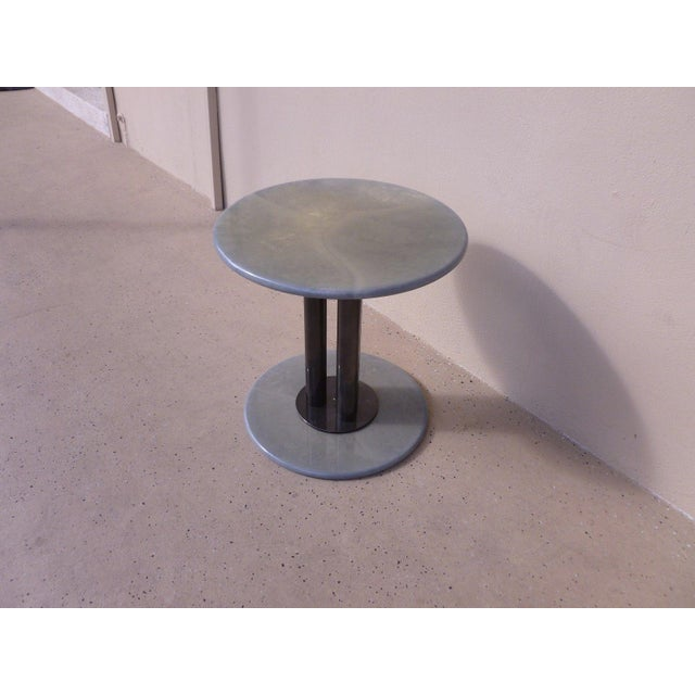 Post Modern 80's Roche Bobois Goatskin / Parchment Three Column Occasional Table For Sale In Miami - Image 6 of 9