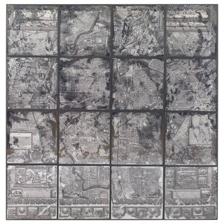 Greyscale Map of Paris on Mirrored Glass For Sale