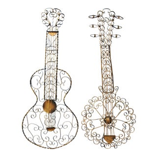 Brutalist Metal String Instrument Wall Hangings - a Pair For Sale