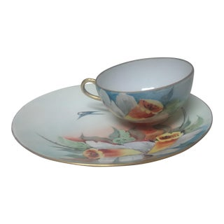 Porcelain Czechoslovakian Cup & Saucer For Sale
