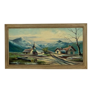 Vintage Landscape of the Swiss Alps With Quaint House and Church Oil Painting For Sale