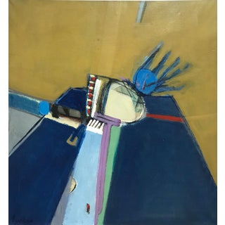 """1980s """"Blue Is Right"""" Jimmy Lueders Signed Large Oil on Canvas Painting For Sale"""
