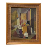 Image of Vintage Mid Modern Geometric Abstract Still Life Oil Painting C.1940s to 1950s For Sale