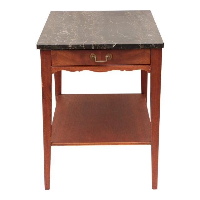 Portoro Black Marble and Mahogany SideTable For Sale