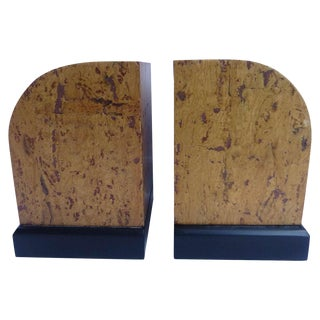 Mid Century Burlwood Bookends For Sale