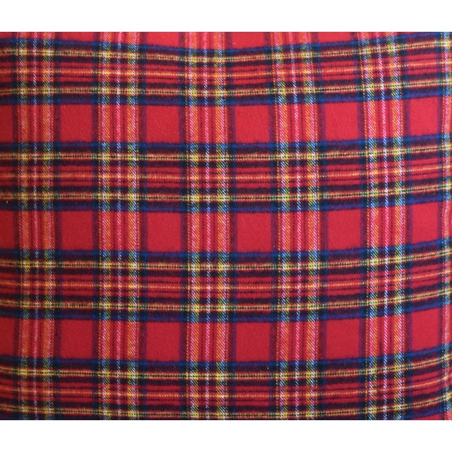 American Red, Blue & Yellow Tartan Plaid Feather/Down Pillow For Sale - Image 3 of 7