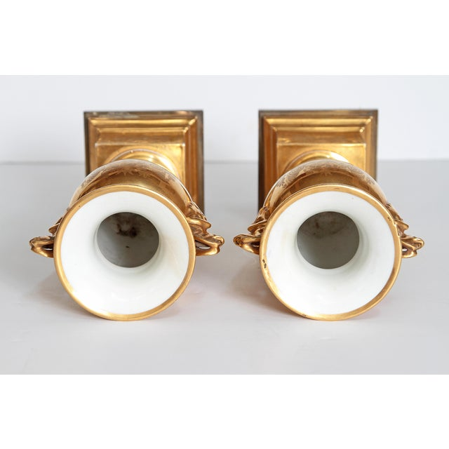 19th Century Pair of French Porcelain Gilt Urns With Scenes For Sale - Image 12 of 13