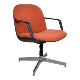Vintage Modern Orange Fabric Hon Armchair Style of Charles Pollock for Knoll For Sale