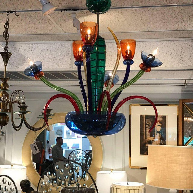 Mid-Century Modern Colorful Italian Artimede Ve-Art Glass Chandelier in the Manner of Gio Ponti For Sale - Image 3 of 13