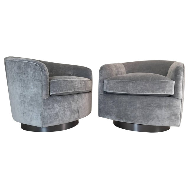 Pair Milo Baughman Style Swivel Chairs For Sale