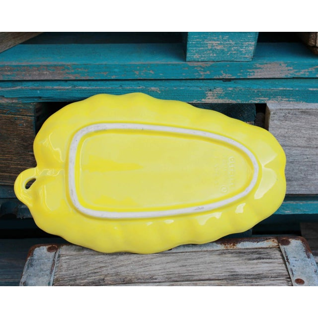 Mediterranean Vintage Yellow Leaf Shaped Olfaire Pottery Platter For Sale - Image 3 of 8