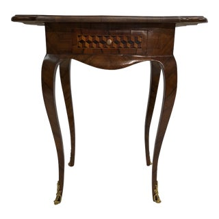 Late 18th Century Antique Louis XV Style Walnut Marquetry Side Table For Sale