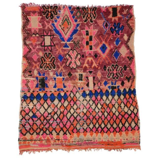 Orange 1960s Vintage Berber Moroccan Rug - 5′4″ × 6′2″ For Sale - Image 8 of 9