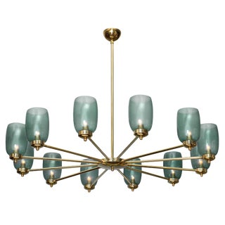 Murano Glass and Brass 12 Arm Chandelier For Sale