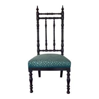 19th Century Napoleon III Era French Black and Aquamarine Chimney Chair For Sale