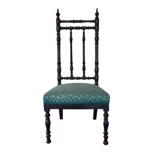 19th Century Napoleon III Era French Black and Aquamarine Chimney Chair For Sale