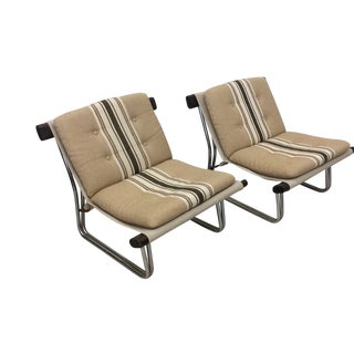 Scan Canvas Sling Lounge Chairs - a Pair For Sale