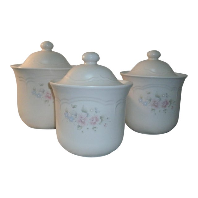 Pfaltzgraff Tea Rose Cookie Jar Canisters - Set of 3 For Sale