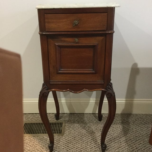 Antique Marble Top Walnut Nightstand - Image 2 of 10