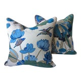 "Image of G. P. And J Baker ""Nympheus"" Aqua Pillows - a Pair For Sale"