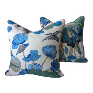 "G. P. And J Baker ""Nympheus"" Aqua Pillows - a Pair For Sale"