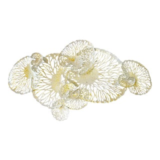 Fabio Ltd White and Gold Iron Lotus Wall Sculpture For Sale