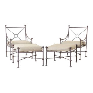 Pair of Papperzini Style Patio Lounge Chairs and Ottomans For Sale