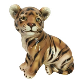 Large Scale Mid Century Italian Majolica Hand Painted Sitting Tiger For Sale