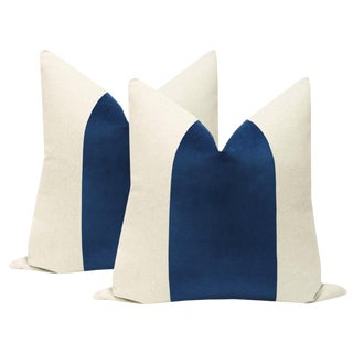 "22"" Sapphire Velvet Panel & Linen Pillows - a Pair For Sale"