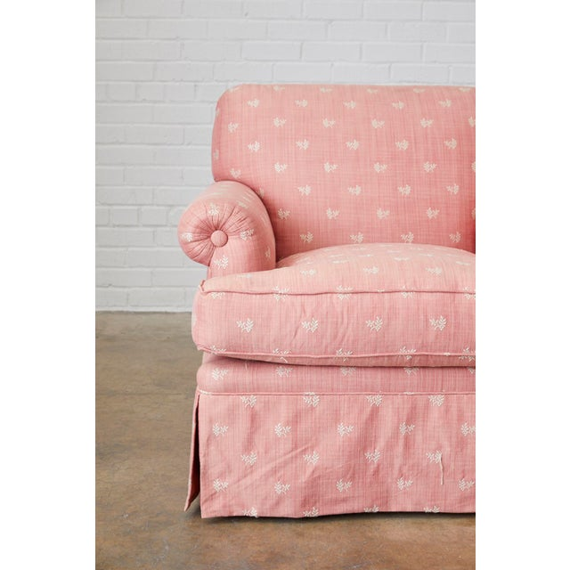 Late 20th Century Pair of English Style Upholstered Club Chairs With Ottoman For Sale - Image 5 of 13
