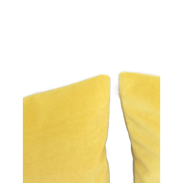 """2010s Solid Yellow Velvet Pillow Cover - 20"""" X 20"""" For Sale - Image 5 of 7"""