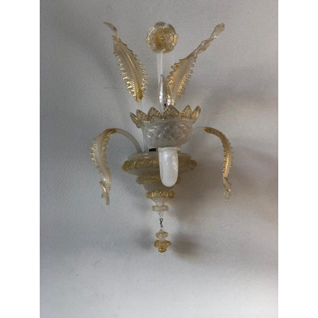 Early 20th Century Murano Glass Handblown Sconces With Milk White Glass and Gold Leaf, Early 20th C. - a Pair For Sale - Image 5 of 6