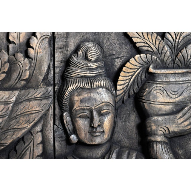 Monumental Southeast Asian Teakwood Figurative Panel of Buddha For Sale - Image 12 of 13