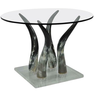 1970s Mid Century Modern Lucite and Horn Round Glass Occasional Side Table For Sale