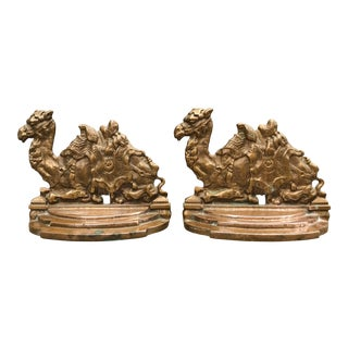 Vintage Bronze Seated Camel Bookends - a Pair For Sale